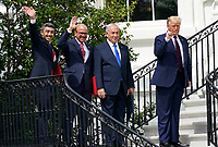 "From left to right: Sheikh Abdullah bin Zayed bin Sultan Al Nahyan, Minister of Foreign Affairs and International Cooperation of the United Arab Emirates; Dr. Abdullatif bin Rashid Alzayani, Minister of Foreign Affairs, Kingdom of Bahrain; Prime Minister Benjamin Netanyhu of Israel; and United States President Donald J. Trump wave from the South Portico steps at the conclusion of the signing ceremony of the ""Abraham Accords"" on the South Lawn of the White House in Washington, DC on Tuesday, September 15, 2020. <br /> Credit: Chris Kleponis / Pool via CNP /MediaPunch"