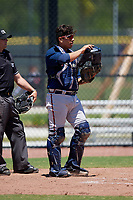 Atlanta Braves catcher Enmanuel Guitian (56) during a Minor League Extended Spring Training game against the Tampa Bay Rays on April 15, 2019 at CoolToday Park Training Complex in North Port, Florida.  (Mike Janes/Four Seam Images)