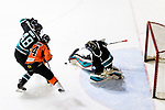Cathay Flyers Goalie Jasen Await (R) makes a save during the Mega Ice Hockey 5s match between Cathay Flyers and HK Tigers on May 04, 2018 in Hong Kong, Hong Kong. Photo by Marcio Rodrigo Machado / Power Sport Images