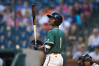 Osiris Johnson (1) of the Greensboro Grasshoppers prepares to step up to the plate during the game against the West Virginia Power at First National Bank Field on August 9, 2018 in Greensboro, North Carolina. The Power defeated the Grasshoppers 9-7 in game two of a double-header. (Brian Westerholt/Four Seam Images)