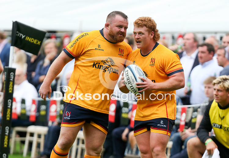 Thursday 9th September 20218 <br /> <br /> Andrew Warwick and Bradley Roberts during the pre-season friendly between Saracens and Ulster Rugby at the Honourable Artillery Company Grounds, Armoury House, London, England. Photo by John Dickson/Dicksondigital