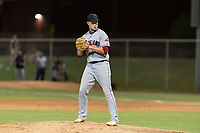 AZL Indians 2 relief pitcher Brendan Meyer (59) gets ready to deliver a pitch during an Arizona League game against the AZL Cubs 2 at Sloan Park on August 2, 2018 in Mesa, Arizona. The AZL Indians 2 defeated the AZL Cubs 2 by a score of 9-8. (Zachary Lucy/Four Seam Images)