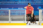 Sochi, RUSSIA - Mar 1 2014 -  Billy Bridges checks out the rink before the team's first practice before the 2014 Paralympics in Sochi, Russia.  (Photo: Matthew Murnaghan/Canadian Paralympic Committee)