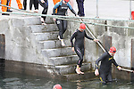Swimmers enter the water at the Green Buoy 1KM Swim in Clogherhead....(Photo credit should read Jenny Matthews/NEWSFILE)...