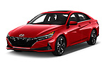 2021 Hyundai Elantra SEL 4 Door Sedan Angular Front automotive stock photos of front three quarter view