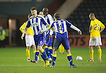 Kilmarnock v St Johnstone..24.11.12      SPL.Michael Nelson celebrates his goal with James Fowler.Picture by Graeme Hart..Copyright Perthshire Picture Agency.Tel: 01738 623350  Mobile: 07990 594431
