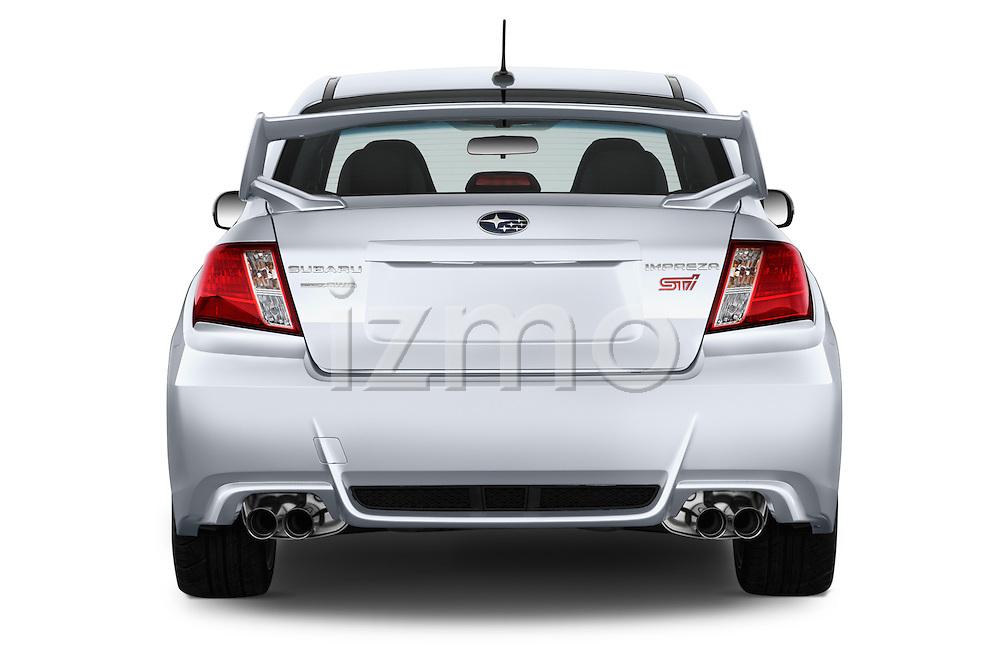 Straight rear view of a 2013 Subaru WRX STI Sedan2013 Subaru WRX STI Sedan