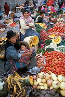 Chola women at market in La Paz, Bolivia