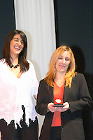 Lilian Irurtia of Bodega Irurtia, winemaker, collecting the Uruguay Cata d'Or prize medal Catad'Or of Uruguay, Montevideo, Uruguay, South America
