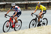 14th March 2020, Paris to Nice cycling tour, final day, stage 7;   NIBALI Vincenzo (ITA) of TREK - SEGAFREDO and SCHACHMANN Maximilian (GER) of BORA - HANSGROHE in action during stage 7 of the 78th edition of the Paris - Nice cycling race, a stage of 166,5km with start in Nice and finish in Valdeblore La Colmiane on March 14, 2020 in Valdeblore La Colmiane, France