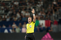 CARSON, CA - SEPTEMBER 15: Ted Unkel stops the game during a game between Sporting Kansas City and Los Angeles Galaxy at Dignity Health Sports Complex on September 15, 2019 in Carson, California.