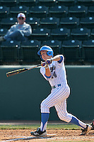 Shane Zeile #14 of the UCLA Bruins bats against the Maryland Terrapins at Jackie Robinson Stadium on February 19, 2012 in Los Angeles,California. Maryland defeated UCLA 5-1.(Larry Goren/Four Seam Images)