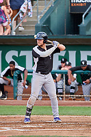 Owen Taylor (27) of the Grand Junction Rockies at bat against the Ogden Raptors at Lindquist Field on July 23, 2019 in Ogden, Utah. The Raptors defeated the Rockies 11-4. (Stephen Smith/Four Seam Images)