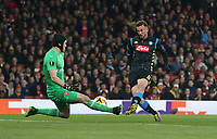 Napoli's Fabian Ruiz sees his shot saved by Arsenal's Petr Cech<br /> <br /> Photographer Rob Newell/CameraSport<br /> <br /> UEFA Europa League First Leg - Arsenal v Napoli - Thursday 11th April 2019 - The Emirates - London<br />  <br /> World Copyright © 2018 CameraSport. All rights reserved. 43 Linden Ave. Countesthorpe. Leicester. England. LE8 5PG - Tel: +44 (0) 116 277 4147 - admin@camerasport.com - www.camerasport.com