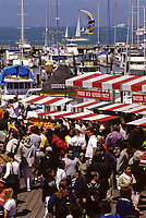 San Francisco, California - Multi-ethnic Crowd Frequents Pier 39, Fisherman's Wharf on a Weekend.