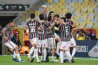 Rio de Janeiro (RJ), 08/07/2020 -Fluminense-Flamengo - Jogadores do Fluminense comemoram a vitoria,durante partida contra o Flamengo,válida pela final da Taça Rio,realizada no Estádio Jornalista Mário Filho (Maracanã), na zona norte do Rio de Janeiro,nesta quarta (08).