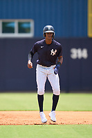 FCL Yankees Kevin Alcantara (40) leads off first base during a game against the FCL Blue Jays on June 29, 2021 at the Yankees Minor League Complex in Tampa, Florida.  (Mike Janes/Four Seam Images)