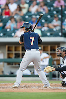 Pete Kozma (7) of the Scranton/Wilkes-Barre RailRiders at bat against the Charlotte Knights at BB&T BallPark on July 20, 2016 in Charlotte, North Carolina.  The RailRiders defeated the Knights 14-2.  (Brian Westerholt/Four Seam Images)