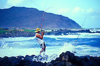 Fishing off the eastern coastline of Oahu
