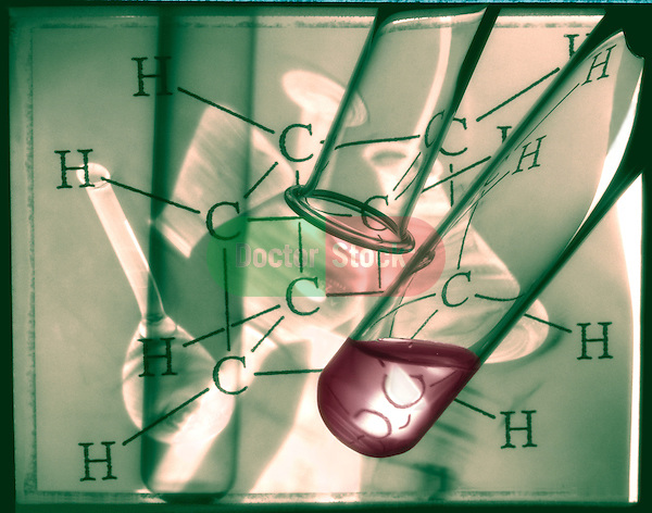 photo illustration, composite of laboratory flasks and test tubes with carbon based molecule diagram