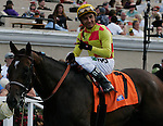 Rafael Bejarano on Unusual Heatwave winner of the Real Good Deal Stakes at Del Mar Race Course in Del Mar, California on August 3, 2012.