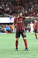 ATLANTA, GA - MARCH 07: ATLANTA, GA - MARCH 07: Atlanta United defender Fernando Meza directs team mates during the match against FC Cincinnati, which Atlanta won, 2-1, in front of a crowd of 69,301 at Mercedes-Benz Stadium during a game between FC Cincinnati and Atlanta United FC at Mercedes-Benz Stadium on March 07, 2020 in Atlanta, Georgia.