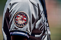 19 July 2018: The Staten Island Yankee uniform shows a 1939 NY Penn League Patch during a game against the Vermont Lake Monsters at Centennial Field in Burlington, Vermont. The Lake Monsters edged out the Yankees 2-1 in NY Penn League action. Mandatory Credit: Ed Wolfstein Photo *** RAW (NEF) Image File Available ***