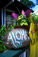 """A  painted coconut says """"""""Aloha"""""""" welcoming patrons to a Lanai gift shop."""