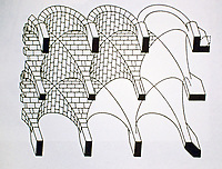 Isometric rendering of Roman groin vaulting