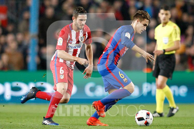 FC Barcelona's Denis Suarez (r) and Atletico de Madrid's Koke Resurrecccion during Spanish Kings Cup semifinal 2nd leg match. February 07,2017. (ALTERPHOTOS/Acero)