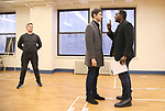 """Kevin Kern, Drew Gehling and Norm Lewis during a Performance Sneak Peek of The MCP Production of """"The Scarlet Pimpernel"""" at Pearl Rehearsal studio Theatre on February 14, 2019 in New York City."""