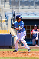 FCL Rays catcher Julio Meza (68) bats during a game against the FCL Twins on July 20, 2021 at Charlotte Sports Park in Port Charlotte, Florida.  (Mike Janes/Four Seam Images)
