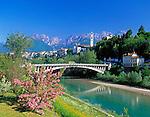 Italy, Veneto, Dolomites, Belluno at river Piave
