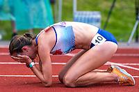 5th June 2021; Birmingham University Athletics Track, Birmingham, Midlands, England; European 10000 Metre Finals, British Olympic Trials 10000 Metre; Jess Judd in tears after her run