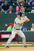 Joey Wendle (13) of the Carolina Mudcats at bat against the Winston-Salem Dash at BB&T Ballpark on April 13, 2013 in Winston-Salem, North Carolina.  The Dash defeated the Mudcats 4-1.  (Brian Westerholt/Four Seam Images)
