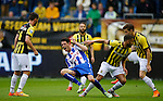 Nederland, Arnhem, 31 mei 2015<br /> Seizoen 2014-2015<br /> Play-offs voor voorronde Europa League<br /> Vitesse-SC Heerenveen (5-2)<br /> Zakaria Labyad van Vitesse begaat een overtreding op Mark Uth van SC Heerenveen