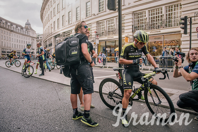 Caleb Ewan (AUS/Mitchelton Scott) wins the bunch sprint in London<br /> <br /> Stage 8: London to London (77km)<br /> 15th Ovo Energy Tour of Britain 2018