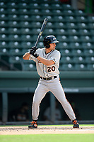 Left fielder Nick Horvath (20) of the Delmarva Shorebirds bats in a game against the Greenville Drive on Friday, August 2, 2019, in the continuation of rain-shortened game begun August 1, at Fluor Field at the West End in Greenville, South Carolina. Delmarva won, 8-5. (Tom Priddy/Four Seam Images)