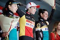 Elite women's podium: <br /> 1/ Sanne Cant (BEL/Enertherm-BKCP)<br /> 2/ Jolien Verschueren (BEL/Telenet-Fidea)<br /> 3/ Nikki Harris (GBR/Telenet-Fidea)<br /> <br /> Jaarmarktcross Niel 2015  Elite Women's Race