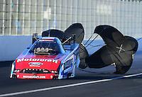 Nov. 10, 2012; Pomona, CA, USA: NHRA funny car driver Bob Tasca III during qualifying for the Auto Club Finals at at Auto Club Raceway at Pomona. Mandatory Credit: Mark J. Rebilas-