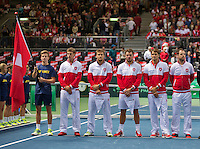 Switserland, Genève, September 18, 2015, Tennis,   Davis Cup, Switserland-Netherlands, Openings ceremony, Swiss team:<br /> Photo: Tennisimages/Henk Koster