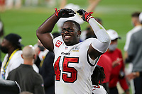 7th February 2021, Tampa Bay, Florida, USA;  Devin White (45) of the Bucs cheers with the fans moments before the end of the game during the Super Bowl LV game between the Kansas City Chiefs and the Tampa Bay Buccaneers on February 7, 2021 at Raymond James Stadium