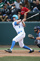 Ryan Kreidler (3) of the of UCLA Bruins bats against the University of San Diego Toreros at Jackie Robinson Stadium on March 4, 2017 in Los Angeles, California.  USD defeated UCLA, 3-1. (Larry Goren/Four Seam Images)