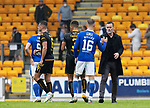 St Johnstone v Motherwell…08.08.21  McDiarmid Park<br />Motherwell manager Graham Alexander shakes hands with Hayden Muller at full time<br />Picture by Graeme Hart.<br />Copyright Perthshire Picture Agency<br />Tel: 01738 623350  Mobile: 07990 594431