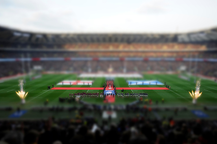 General view of Twickenham Stadium during the national anthems (tilt shift effect added)