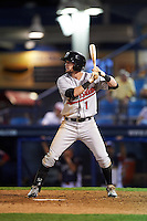 New Britain Rock Cats outfielder David Dahl (1) at bat during a game against the Reading Fightin Phils on August 7, 2015 at FirstEnergy Stadium in Reading, Pennsylvania.  Reading defeated New Britain 4-3 in ten innings.  (Mike Janes/Four Seam Images)