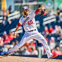 2 March 2019: Washington Nationals pitcher Justin Miller on the mound during a Spring Training game against the Minnesota Twins at the Ballpark of the Palm Beaches in West Palm Beach, Florida. The Nationals defeated the Twins 10-6 in Grapefruit League play. Mandatory Credit: Ed Wolfstein Photo *** RAW (NEF) Image File Available ***
