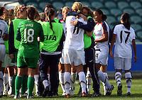 USA celebrate making it through to the quarter finals..FIFA U17 Women's World Cup, USA v France, Albany Stadium, Auckland, New Zealand, Wednesday 5 November 2008. Photo: Renee McKay/PHOTOSPORT