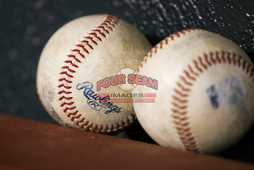 Pacific Coast League baseballs on June 12, 2013 at Autozone Park in Memphis, Tennessee. (Andrew Woolley/Four Seam Images)