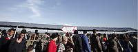 Pictured: Refugees queue up for food Thursday 25 February 2016<br /> Re: Refugees have been left stranded in temporary camps after Greek FYRO Macedonian borders were closed in Idomeni, northern Greece.